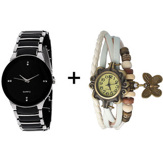 Iik Combo Of Black  Silver Quartz Analog Watch For Man With White Designer Leather Analog Watch For Woman