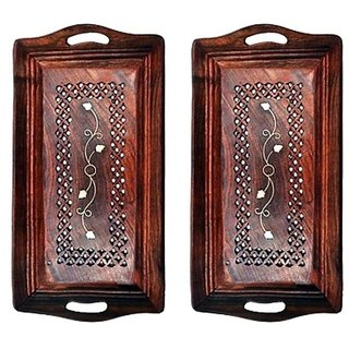 Wooden Premium Quality Serving Tray With Hand Carved Design 11 inch,Pack Of 2