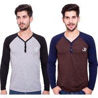 Jangoboy Men's Multicolor V-Neck T-shirt (Pack of 2)