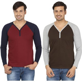 Jangoboy Men's Solid V-Neck Long Sleeve Pack of 2 T-Shirts