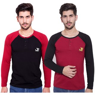 Jangoboy Men's Solid Round Neck Long Sleeve Pack of 2 T-Shirts