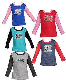 Shreeji Garments Multicolour Cotton Tees (Set of 5)