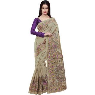 Sareemall Beige Khadi Silk  Saree with Unstitched Blouse 2MDB8704C