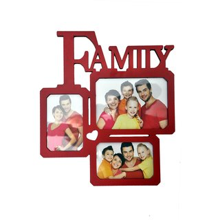 NoVowels Acrylic Collage Photo Frame Family 3 Photos Red