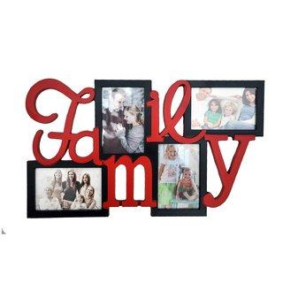 NoVowels Acrylic Collage Frame Family 4 Photos Black