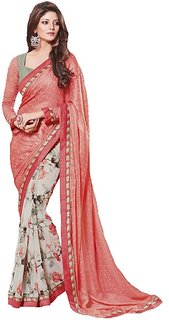 P.S.Associates Multicolor Georgette Printed Saree With Blouse