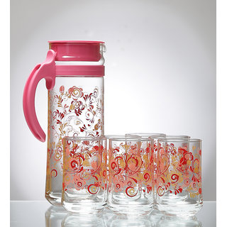 Ocean Sharing Delight Pink  Jug and Tumbler Set of 7