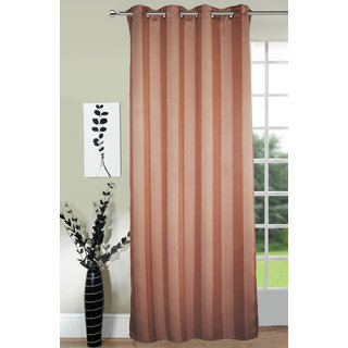 Lushomes Stripes Adorable Light Brown Curtain for Door (single pc)