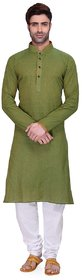 RG Designers Men's Full Sleeve Kurta Pyjama Set AVDoubleHandloom-Green