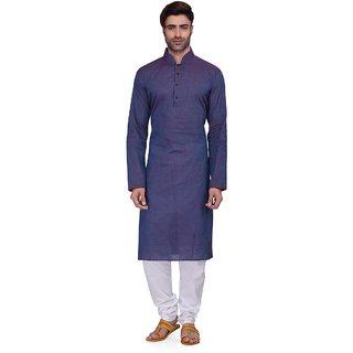 RG Designers Men's Full Sleeve Kurta Pyjama Set AVDoubleHandloom-Blue