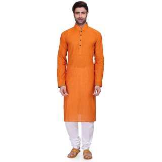 RG Designers Men's Full Sleeve Kurta Pyjama Set AVDoubleHandloom-Orange