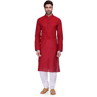 RG Designers Men's Full Sleeve Kurta Pyjama Set AVDoubleHandloom-Red