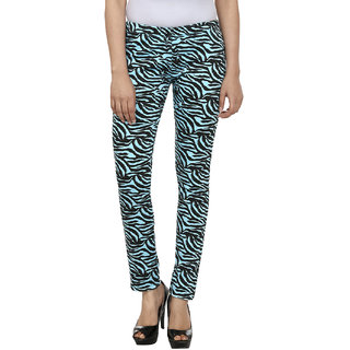 FASHION CULT Sky Blue  Black Cotton Lycra Jeggings
