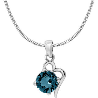 Mahi with Crystal Elements Light Blue Victorian Heart Rhodium Plated Pendant for Women PS1194141RLBlu