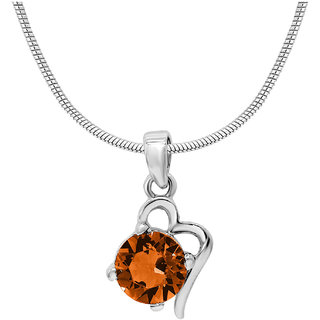 Mahi with Crystal Elements Yellow Victorian Heart Rhodium Plated Pendant for Women PS1194141RYel