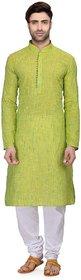 RG Designers Men's Full Sleeve Kurta Pyjama Set AVHandloomLoops-Green