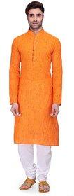 RG Designers Men's Full Sleeve Kurta Pyjama Set AVHandloomLoops-Orange