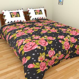 swastik beautiful black floral double bedsheet with two pillow covers