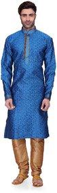 RG Designers Men's Full Sleeve Kurta Pyjama Set D6525Blue