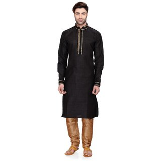 RG Designers Men's Full Sleeve Kurta Pyjama Set D6525Black