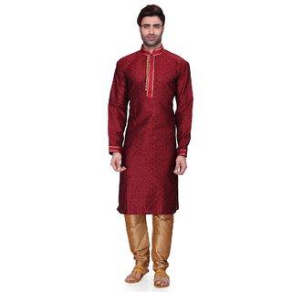 RG Designers Men's Full Sleeve Kurta Pyjama Set D6525Maroon