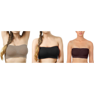 Bahucharaji Creation Grey  Black  Brown Color Free Size None Padded Tube 3 Set Of Bra(Fit Bust Size Between 30 To 36(A  B))