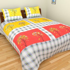 swastik beautiful Multi-color floral double bedsheet with two pillow covers