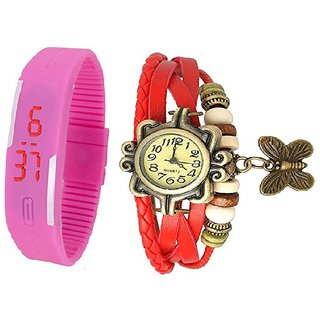 CooolHim Combo of Pink Vintage Analog  Red Silicon Led Watch