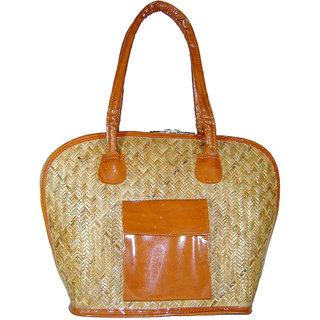 Saffron Craft Cane and Leatherette Handbag Large