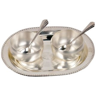 Little India Silver Polish Brass Bowl, Spoon and Tray Set (334, Silver)