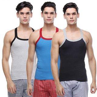RiverZone Pack of 3 Multi Color Cotton Sandos for Men