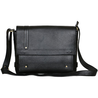 LEATHER COLLECTION 12 inch Laptop Messenger Cum  office Bag (Black)