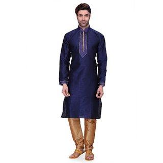 RG Designers Men's Full Sleeve Kurta Pyjama Set D6576Navy
