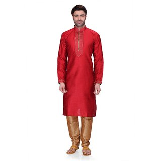 RG Designers Men's Full Sleeve Kurta Pyjama Set D6576Red