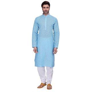 RG Designers Men's Full Sleeve Kurta Pyjama Set D6577Blue