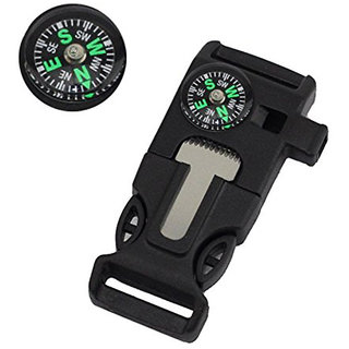 Survial buckle side release 20mm with whistle campass blade and fire starter - Pack of 5
