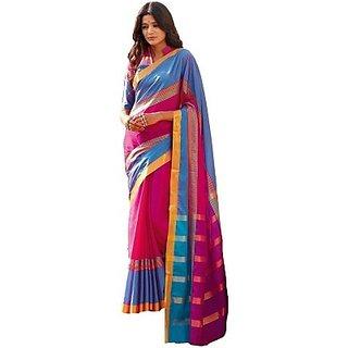 Meera Multicolor Self Design Fashion Handloom Cotton Sari