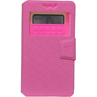 Jojo Flip Cover for Spice Coolpad 2 Mi496 (Exotic Pink)
