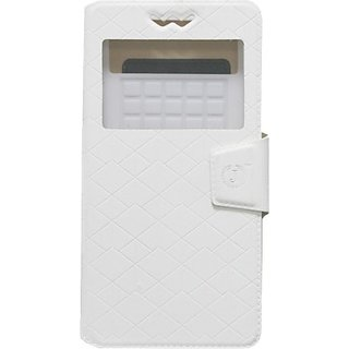 Jojo Flip Cover for iBall Andi 4h Tiger+ (White)