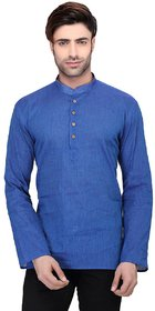RG Designers Men's Full Sleeve Short kurta AVHandloomShort-Blue