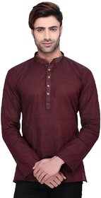 RG Designers Men's Full Sleeve Short kurta AVHandloomShort-Brown