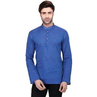 RG Designers Men's Full Sleeve Short kurta AVHandloomShort-Blue