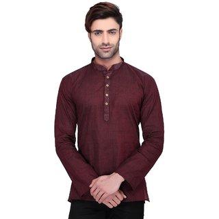 RG Designers Men's Full Sleeve Short kurta AVHandloomShort-Brown