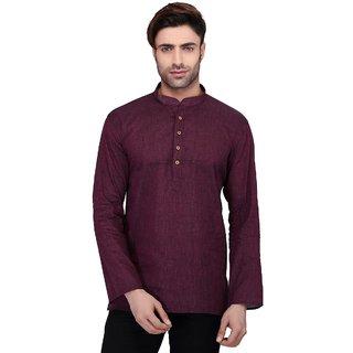 RG Designers Men's Full Sleeve Short kurta AVHandloomShort-Maroon