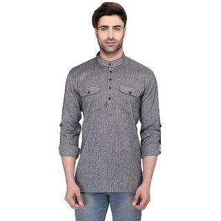 RG Designers Men's Full Sleeve Short kurta AVSARNATH-LIGHTGREY