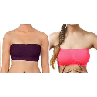 db80622edb8a6 Buy Hothy Wirefree Non-Padded Strapless Tube Bra (Pack Of 2) Online ...