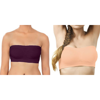 Bahucharaji Creation Purple  Light Orange Color Free Size None Padded Tube Combo Bra(Fit Bust Size Between 30 To 36(A  B))
