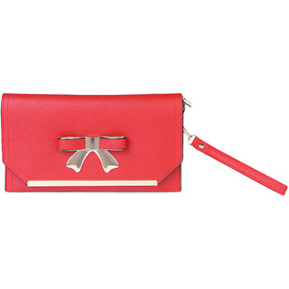 Kleio Designer Party Metal Bow Sling Clutch ( Red )