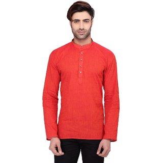 RG Designers Men's Full Sleeve Short kurta AVHandloomShort-Red