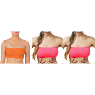 Bahucharaji Creation Orange  Dark Pink  Dark Pink Color Free Size None Padded Tube 3 Set Of Bra(Fit Bust Size Between 30 To 36(A  B))